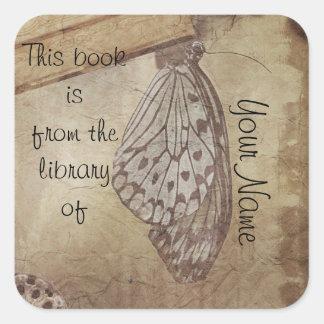 placa del pegatina de la biblioteca de la mariposa