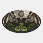 placa del pegatina de la biblioteca de las cebras