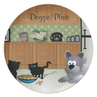 Placa del perrito platos de comidas