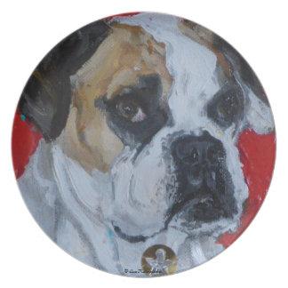 Placa del perro del boxeador plato para fiesta
