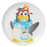 Placa del personaje de dibujos animados del pingüi platos