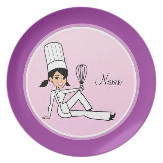 Placa del personaje de dibujos animados plato de cena