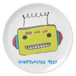 Placa del personalizable del robot de WhimsyMonger Plato De Cena