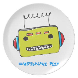 Placa del personalizable del robot de WhimsyMonger Platos