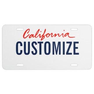 Placa del personalizado de California Placa De Matrícula