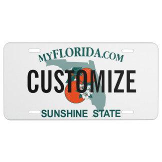 Placa del personalizado de la Florida Placa De Matrícula