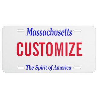 Placa del personalizado de Massachusetts Placa De Matrícula