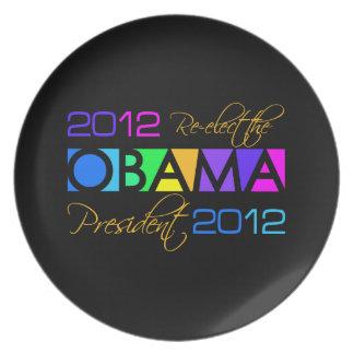 Placa del personalizado de OBAMA 2012 Plato De Comida