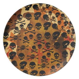 Placa del pirata del modelo de los cráneos plato