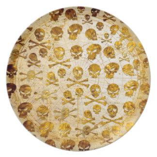 Placa del pirata del modelo del cráneo platos