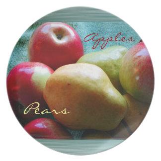 Placa del placer de la pera de Apple Plato De Cena