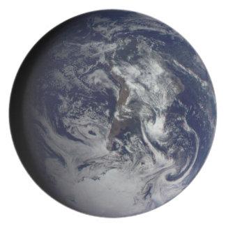 Placa del planeta: Tierra Plato De Cena