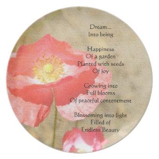 Placa del poema de la felicidad de las expresiones platos