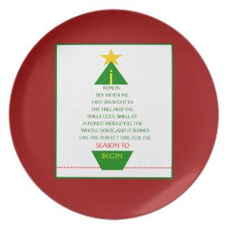 Placa del poema del árbol de navidad plato para fiesta