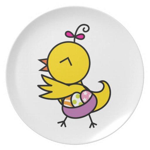 Placa del polluelo del la del tutú plato de cena