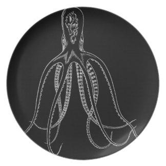 Placa del pulpo plato de cena