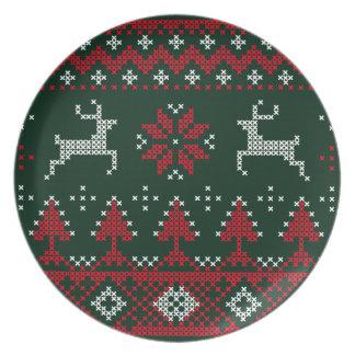 Placa del punto de cruz del reno del navidad plato para fiesta