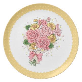 Placa del ramo (amarillo) plato de comida