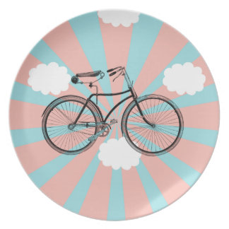 Placa del rayo del rosa de la bici del vuelo platos para fiestas