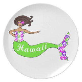 Placa del recuerdo de la sirena de Hawaii Platos