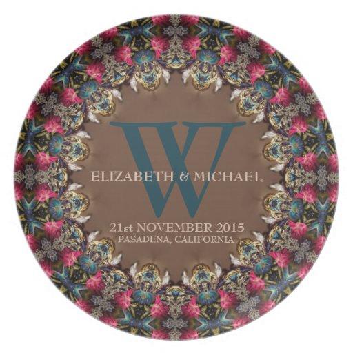 Placa del recuerdo del boda del arte del cordón de platos