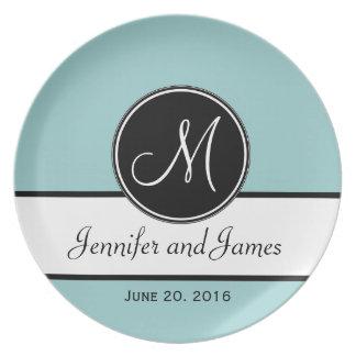Placa del recuerdo del boda del monograma del negr platos de comidas