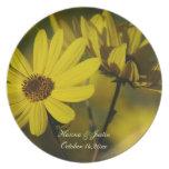 Placa del recuerdo del girasol de octubre platos de comidas