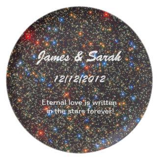 Placa del regalo de boda de la estrella platos de comidas