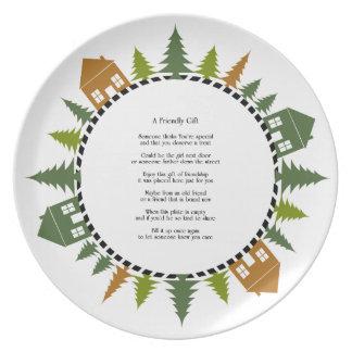Placa del regalo de la amistad platos para fiestas