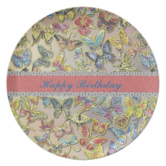 Placa del regalo del colector de mariposa del feli plato de cena