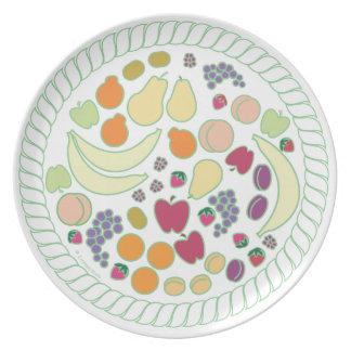 Placa del relevo de la fruta plato