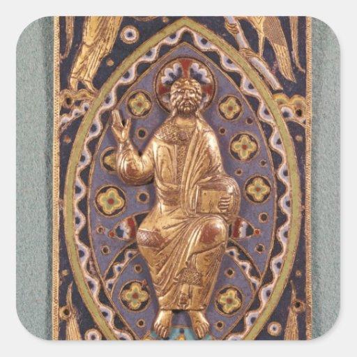 Placa del relicario que representa a Cristo Pegatina Cuadrada
