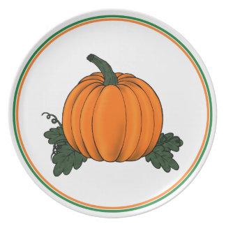 Placa del remiendo de la calabaza plato de cena