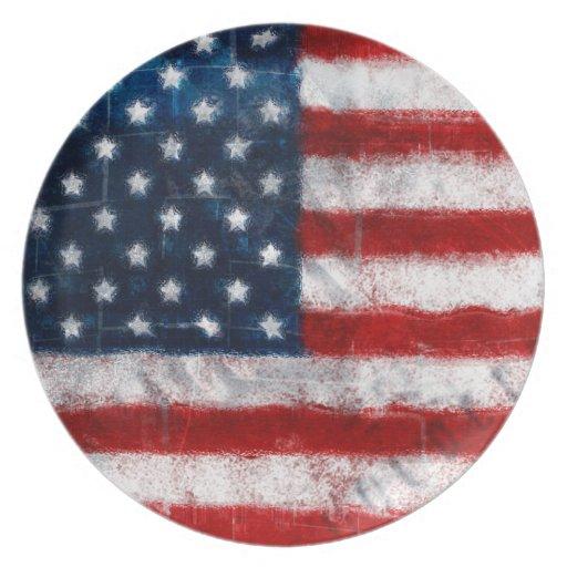 Placa del retrato de la bandera americana platos para fiestas