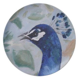 Placa del retrato del pavo real platos