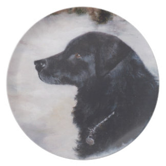 Placa del retrato del perro de Actune Platos De Comidas