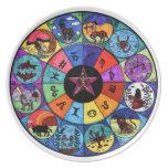 Placa del ritual del zodiaco platos de comidas