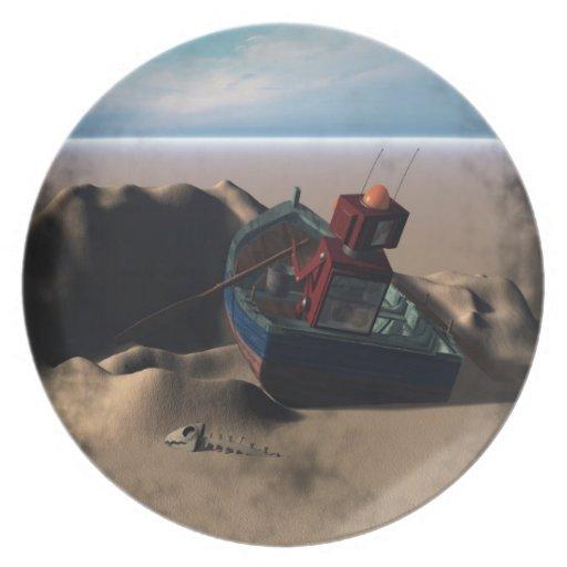 Placa del robot del barco de fila plato de comida