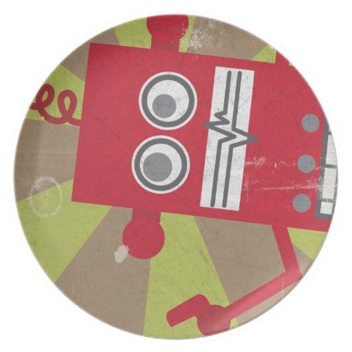 Placa del robot (en rojo) plato de cena