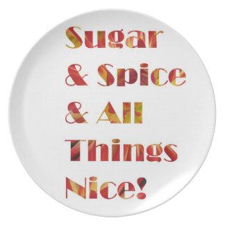Placa del rojo del azúcar y de la especia plato
