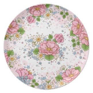 Placa del rosa de té (rosa) plato