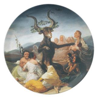 Placa del Sabat de las brujas de Goya Plato Para Fiesta