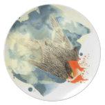Placa del salto del halcón plato para fiesta