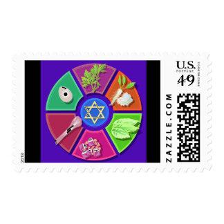 placa del seder sellos postales