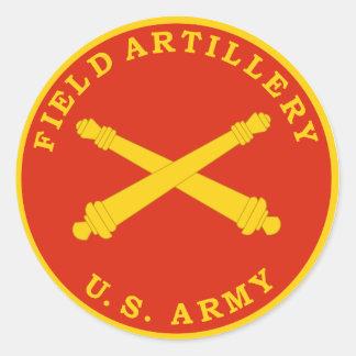 Placa del sello de la artillería de campaña etiquetas redondas