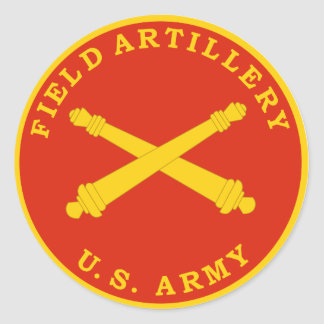 Placa del sello de la artillería de campaña pegatina redonda