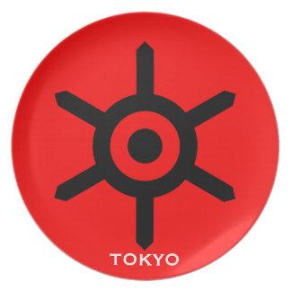 Placa del sello de la ciudad de Japón Tokio Platos De Comidas