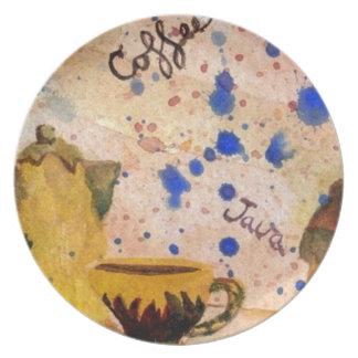 Placa del sistema de café - arte popular del café  platos de comidas