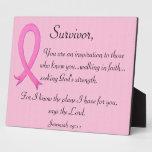 Placa del superviviente del cáncer de pecho con ve