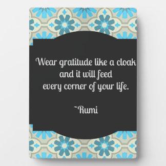 Placa del tablero de la mesa de la cita de Rumi de
